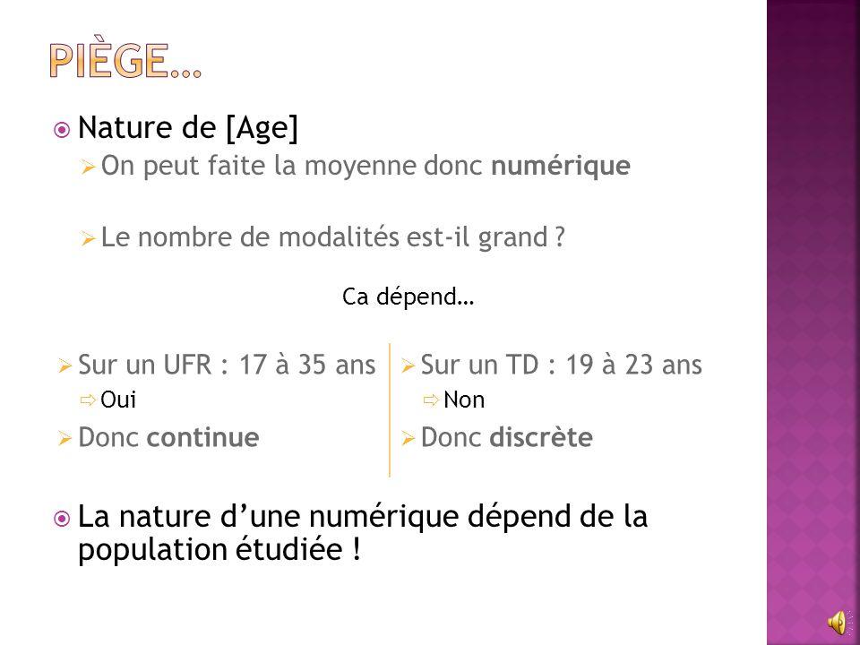 Piège… Nature de [Age] On peut faite la moyenne donc numérique. Le nombre de modalités est-il grand
